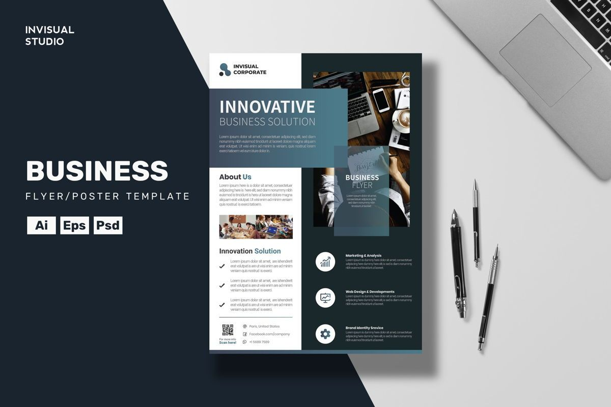 Innovative Business Flyer Template, 08893, Business — PoweredTemplate.com