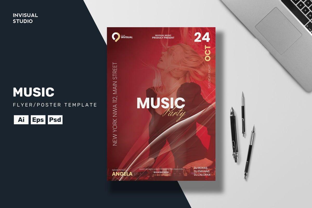 Music Party Flyer Template, 08895, Art & Entertainment — PoweredTemplate.com