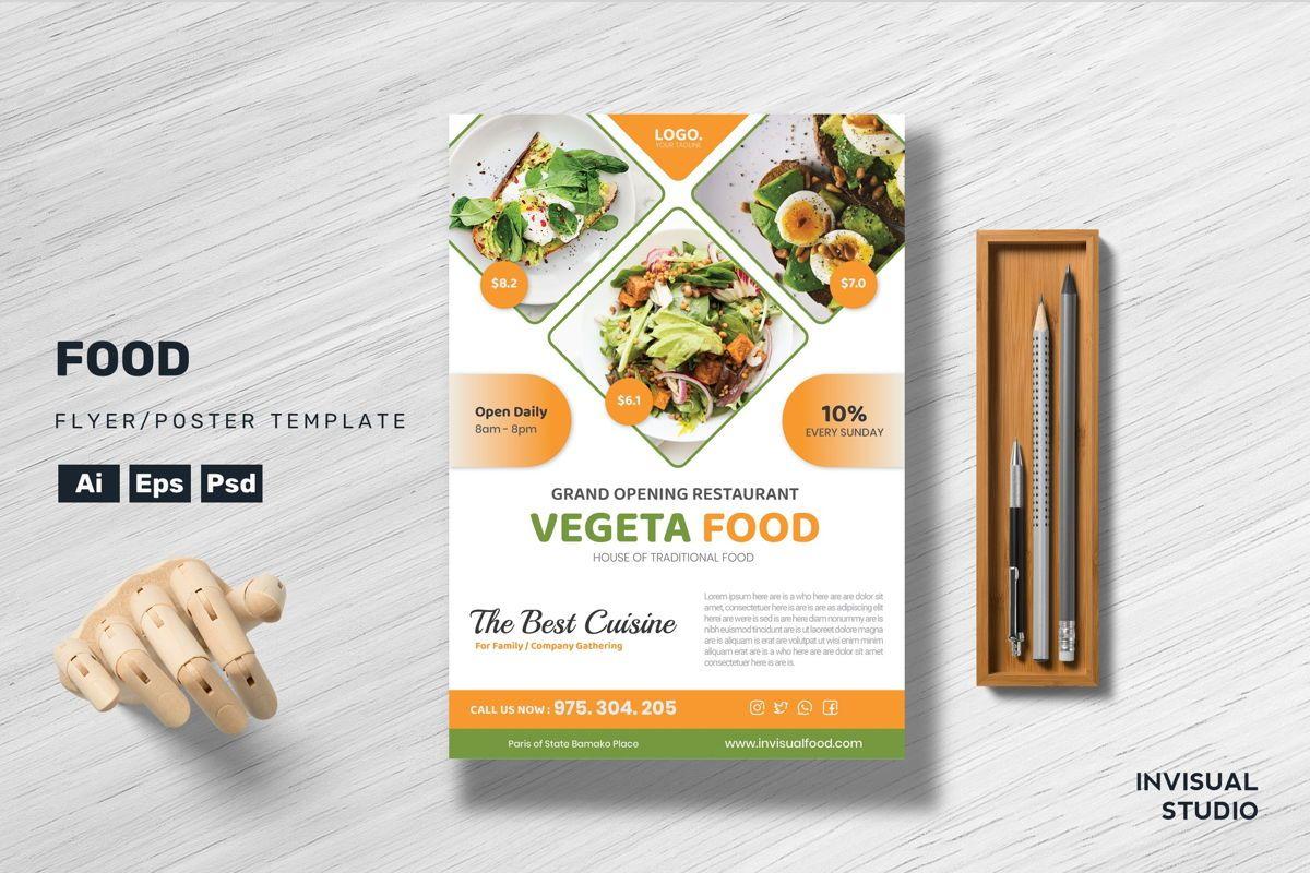 Vegeta Food Flyer Template, 08900, Food & Beverage — PoweredTemplate.com
