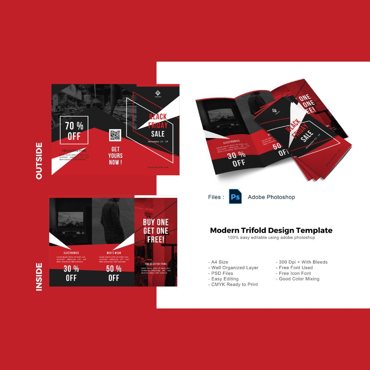 Black friday sale trifold brochure template, 08902, Business — PoweredTemplate.com