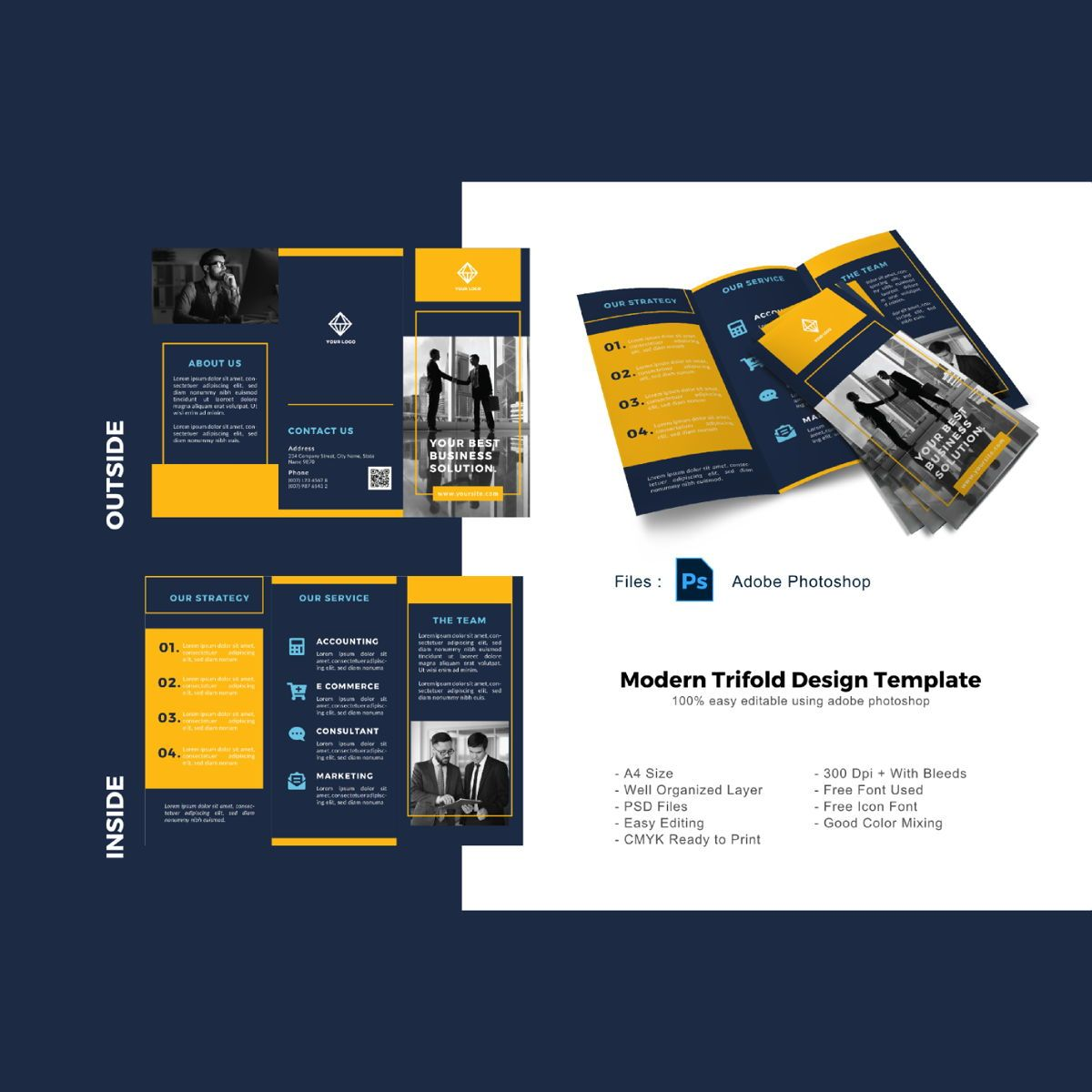 Blue business corporation trifold brochure template, 08903, Business — PoweredTemplate.com