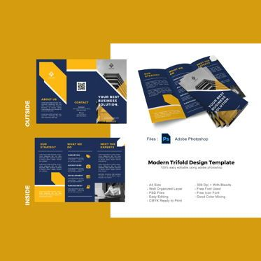 Business: Yellow business company trifold brochure template #08904