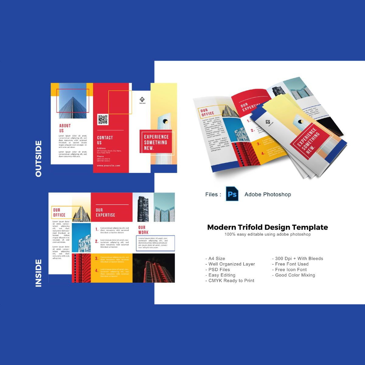 Multipurpose trifold business brochure template, 08906, Business — PoweredTemplate.com