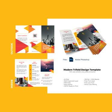 Business: Triangle trifold business brochure template #08907