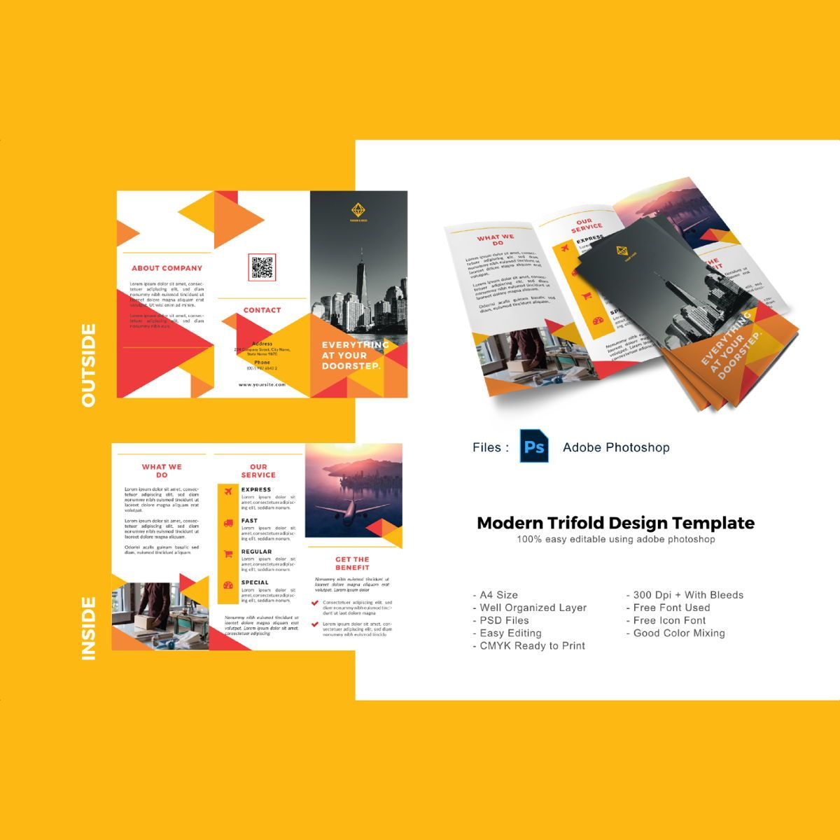Triangle trifold business brochure template, 08907, Business — PoweredTemplate.com