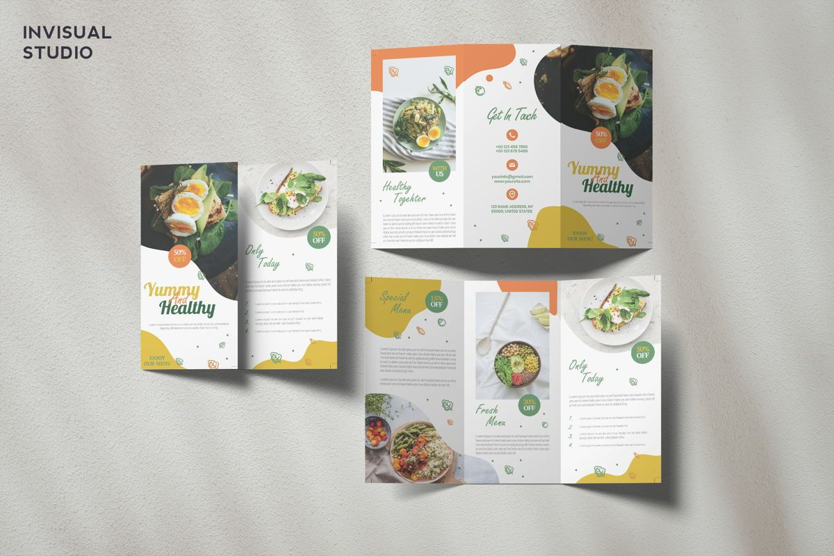 Healthy Food - Trifold Brochure, 08911, Food & Beverage — PoweredTemplate.com