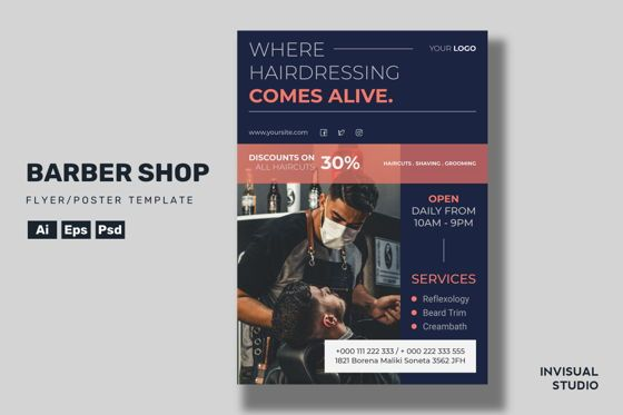 Utilities/Industrial: Barber Shop - Flyer Template #08916