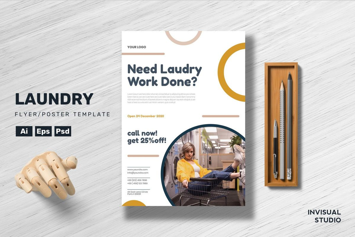 Laundry - Flyer Template, 08922, Utilities/Industrial — PoweredTemplate.com
