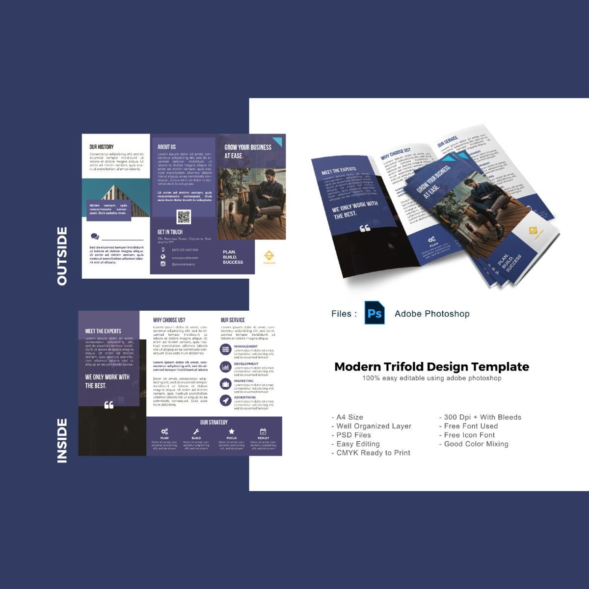 Minimalist trifold brochure template, 08926, Business — PoweredTemplate.com