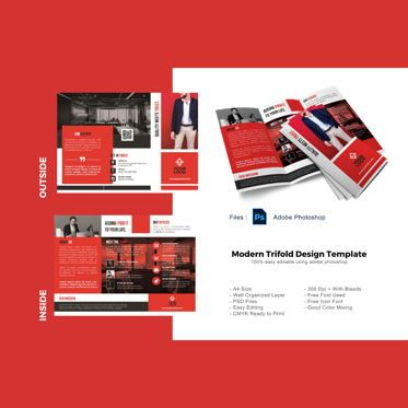 Business: Business modern trifold brochure template #08927