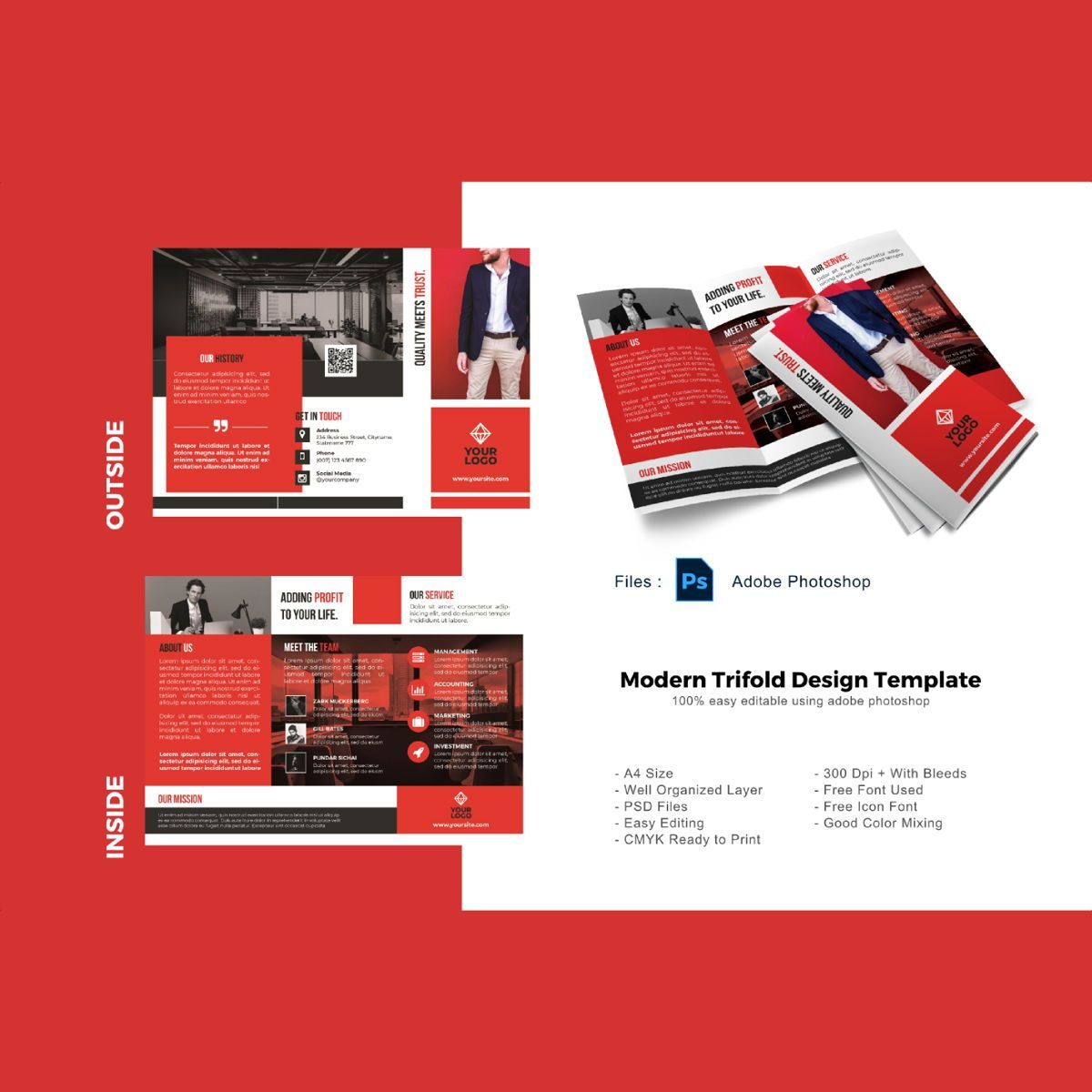Business modern trifold brochure template, 08927, Business — PoweredTemplate.com
