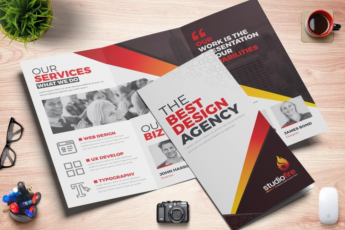 Creative Tri-Fold Brochure InDesign Template with 4 Color Variation, 08929, Business — PoweredTemplate.com