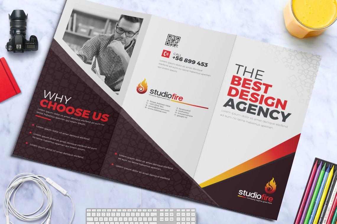 Creative Tri-Fold Brochure InDesign Template with 4 Color Variation, Slide 2, 08929, Business — PoweredTemplate.com