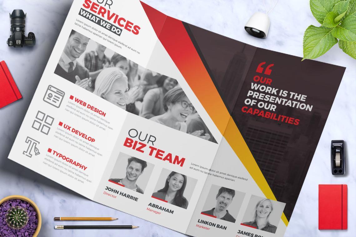 Creative Tri-Fold Brochure InDesign Template with 4 Color Variation, Slide 3, 08929, Business — PoweredTemplate.com