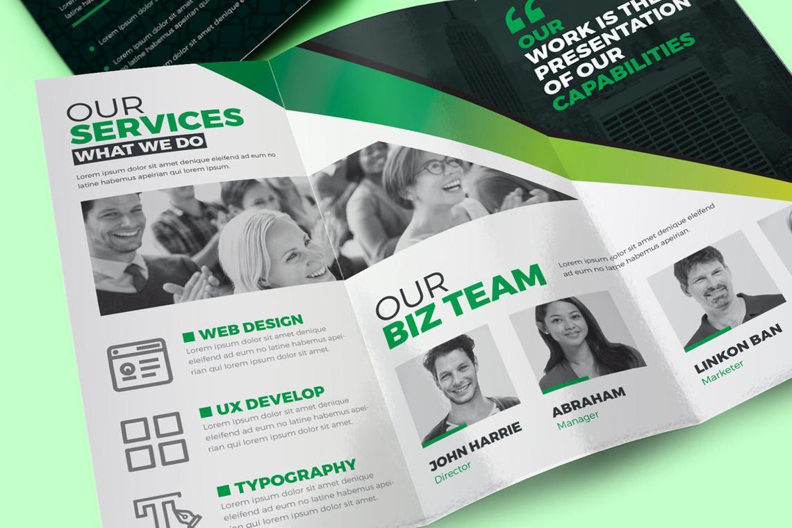 Creative Tri-Fold Brochure InDesign Template with 4 Color Variation, Slide 5, 08929, Business — PoweredTemplate.com