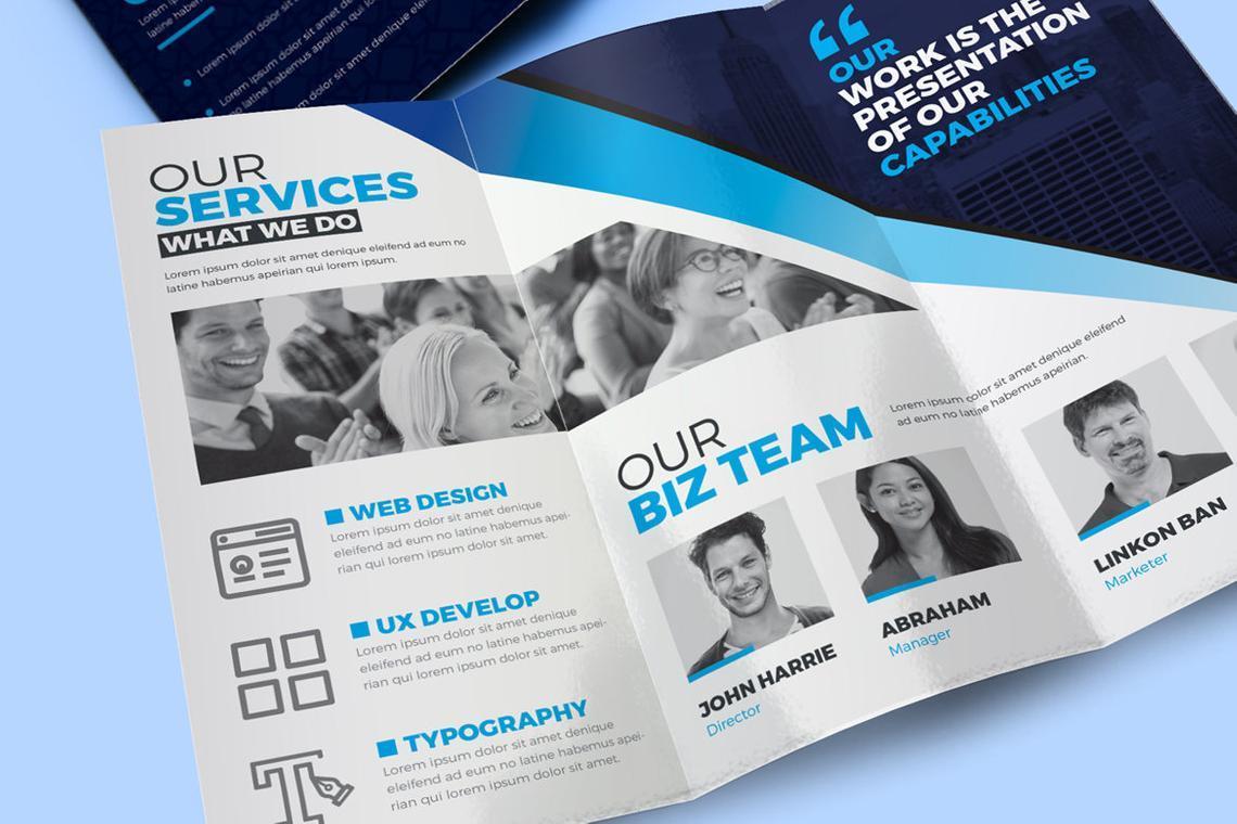 Creative Tri-Fold Brochure InDesign Template with 4 Color Variation, Slide 7, 08929, Business — PoweredTemplate.com