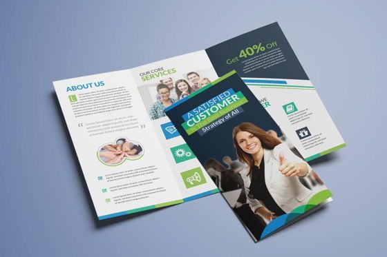 Business: Clean Corporate Business Tri-Fold Brochure InDesign Template #08930
