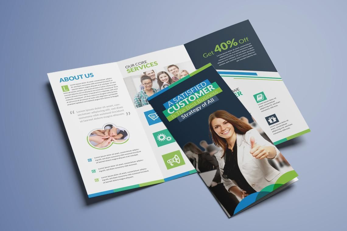 Clean Corporate Business Tri-Fold Brochure InDesign Template, 08930, Business — PoweredTemplate.com