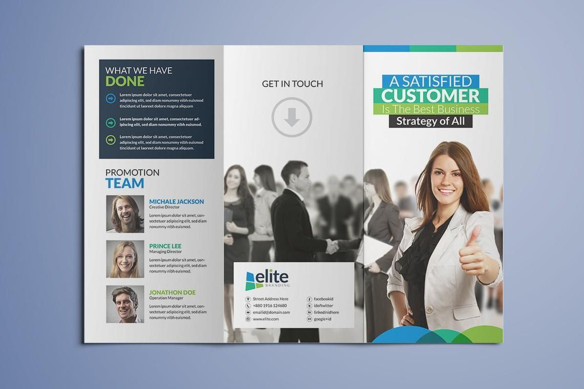 Clean Corporate Business Tri-Fold Brochure InDesign Template, Diapositive 2, 08930, Business — PoweredTemplate.com