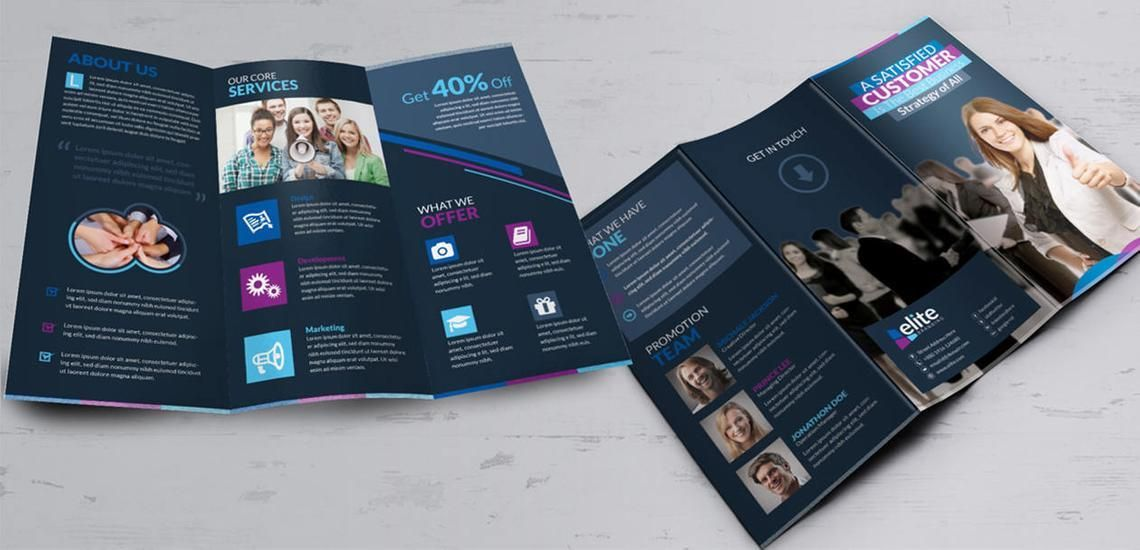 Clean Corporate Business Tri-Fold Brochure InDesign Template, Diapositive 9, 08930, Business — PoweredTemplate.com