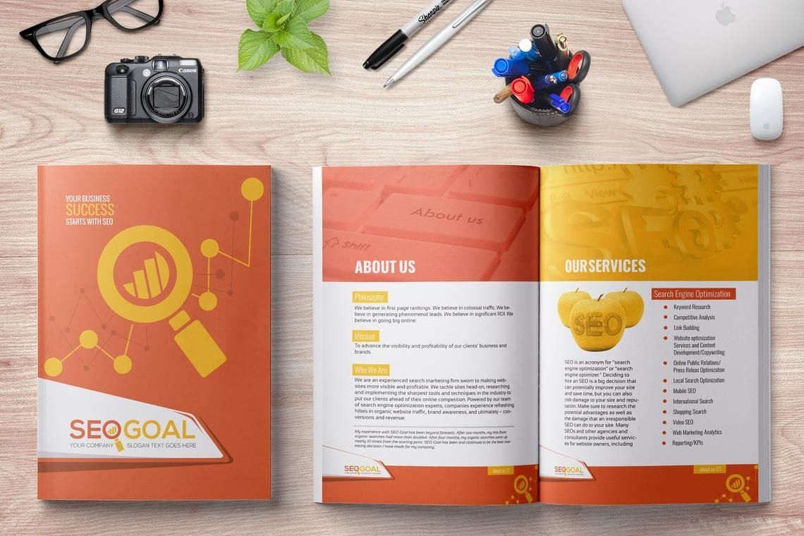 16 Page Brochure Template for SEO and Online Marketing Agency, 08931, Technology, Science & Computers — PoweredTemplate.com