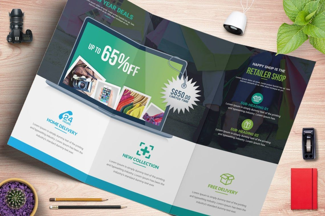 Product Promotional Tri-Fold Brochure InDesign Template, Slide 2, 08932, Business — PoweredTemplate.com