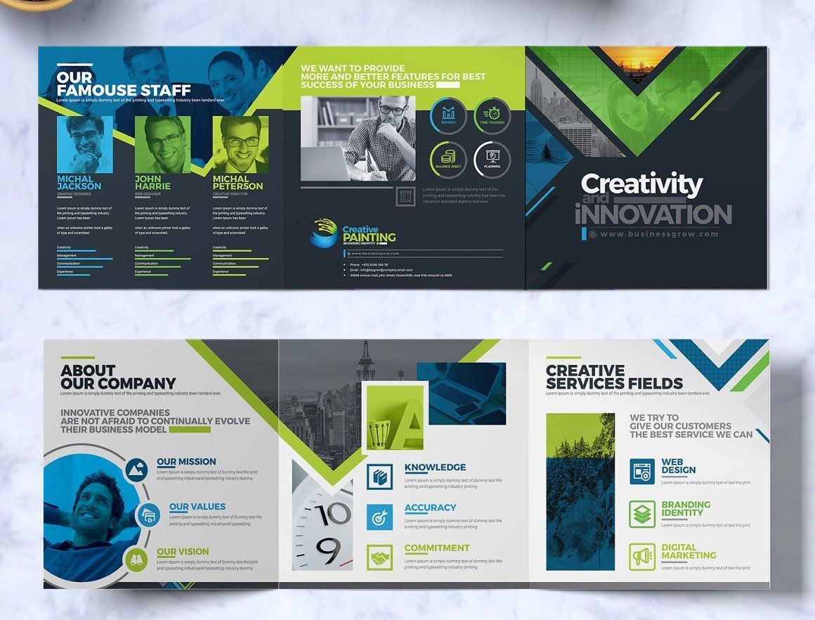 Tri-Fold Brochure - Square and Tall Brochure Design Template, Slide 2, 08933, Business — PoweredTemplate.com