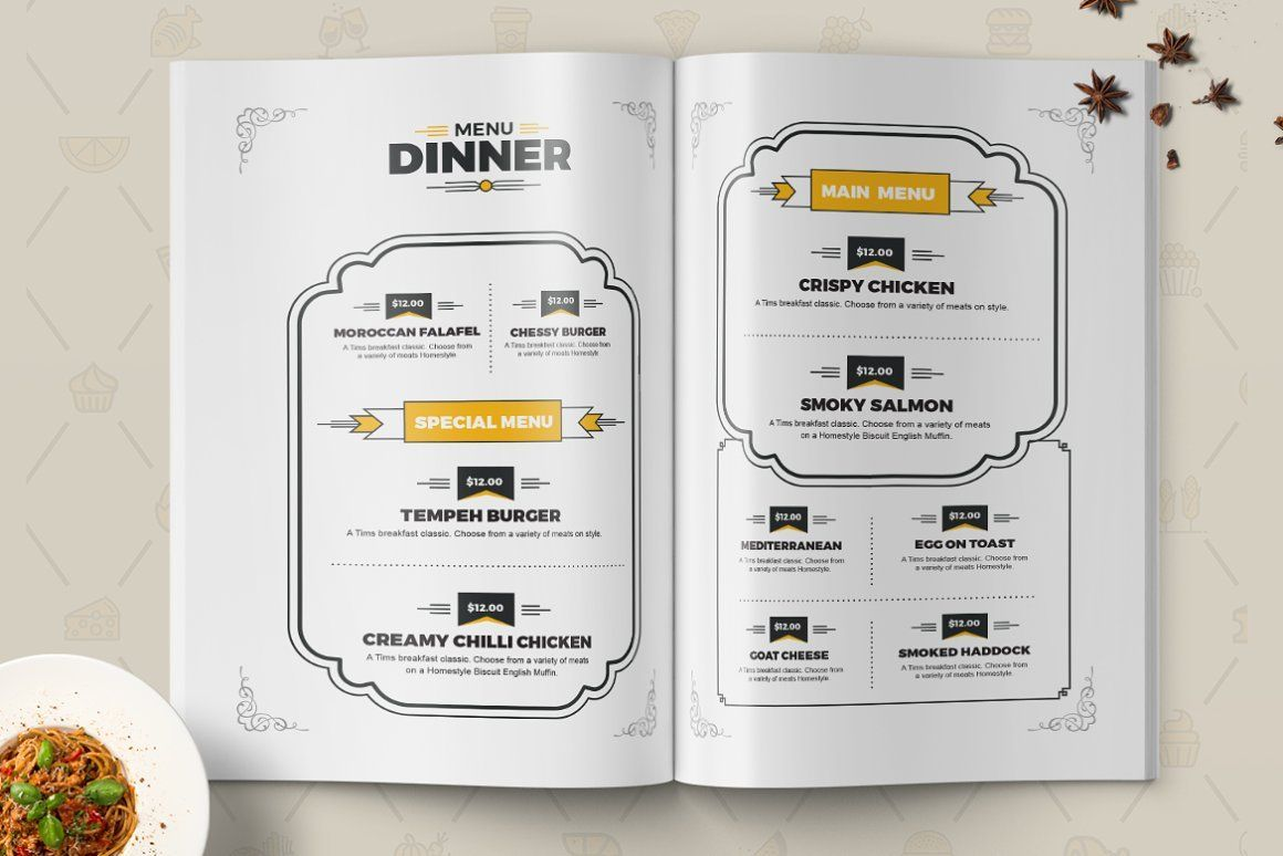 Food Menu for Restaurant Template, Slide 3, 08934, Food & Beverage — PoweredTemplate.com