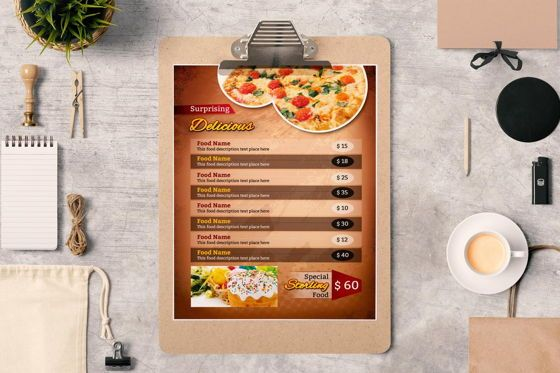Food & Beverage: Printable Restaurant Menu Adobe Photoshop Template #08935