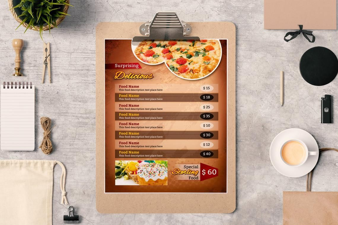 Printable Restaurant Menu Adobe Photoshop Template, 08935, Food & Beverage — PoweredTemplate.com