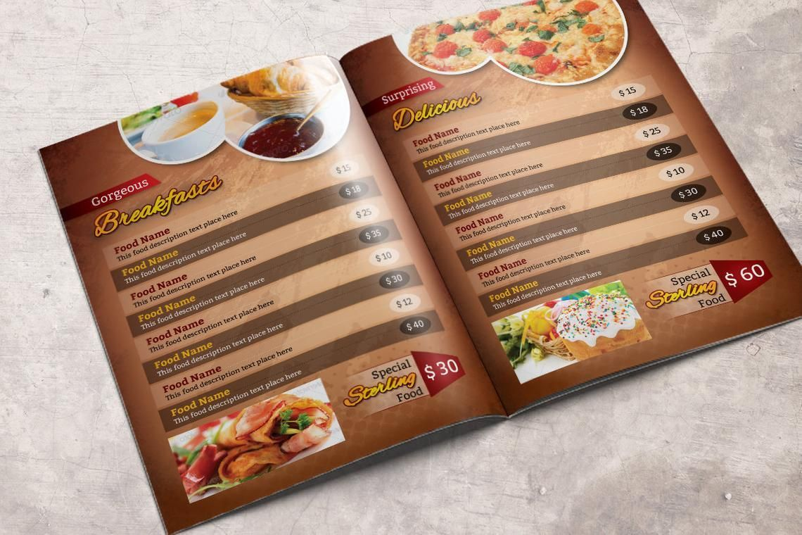 Printable Restaurant Menu Adobe Photoshop Template, Slide 3, 08935, Food & Beverage — PoweredTemplate.com