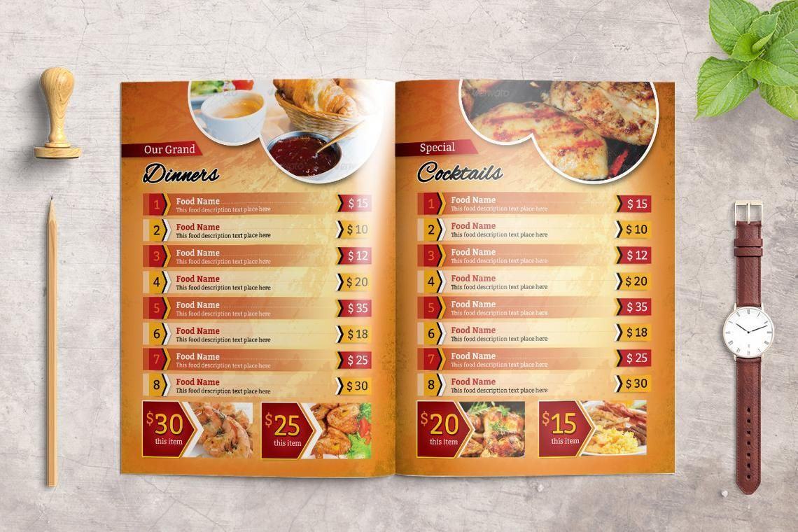 Printable Restaurant Menu Adobe Photoshop Template, Slide 4, 08935, Food & Beverage — PoweredTemplate.com