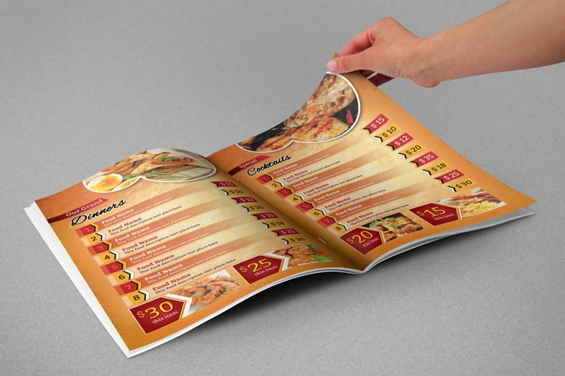 Printable Restaurant Menu Adobe Photoshop Template, Slide 5, 08935, Food & Beverage — PoweredTemplate.com