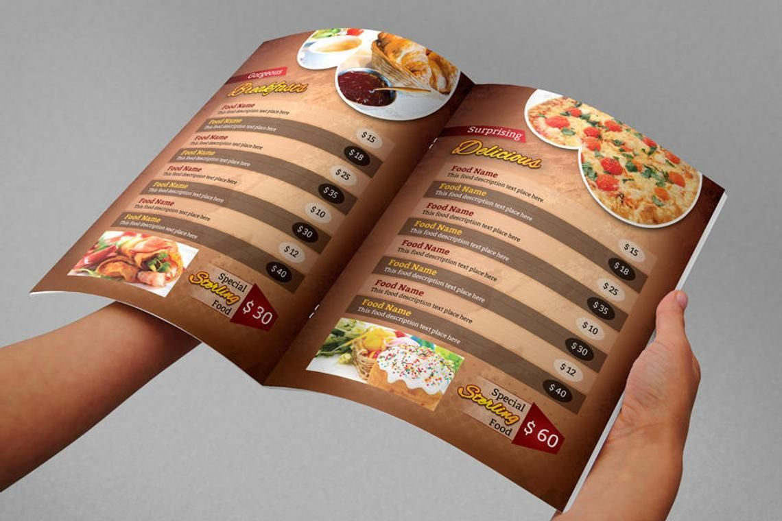 Printable Restaurant Menu Adobe Photoshop Template, Slide 7, 08935, Food & Beverage — PoweredTemplate.com