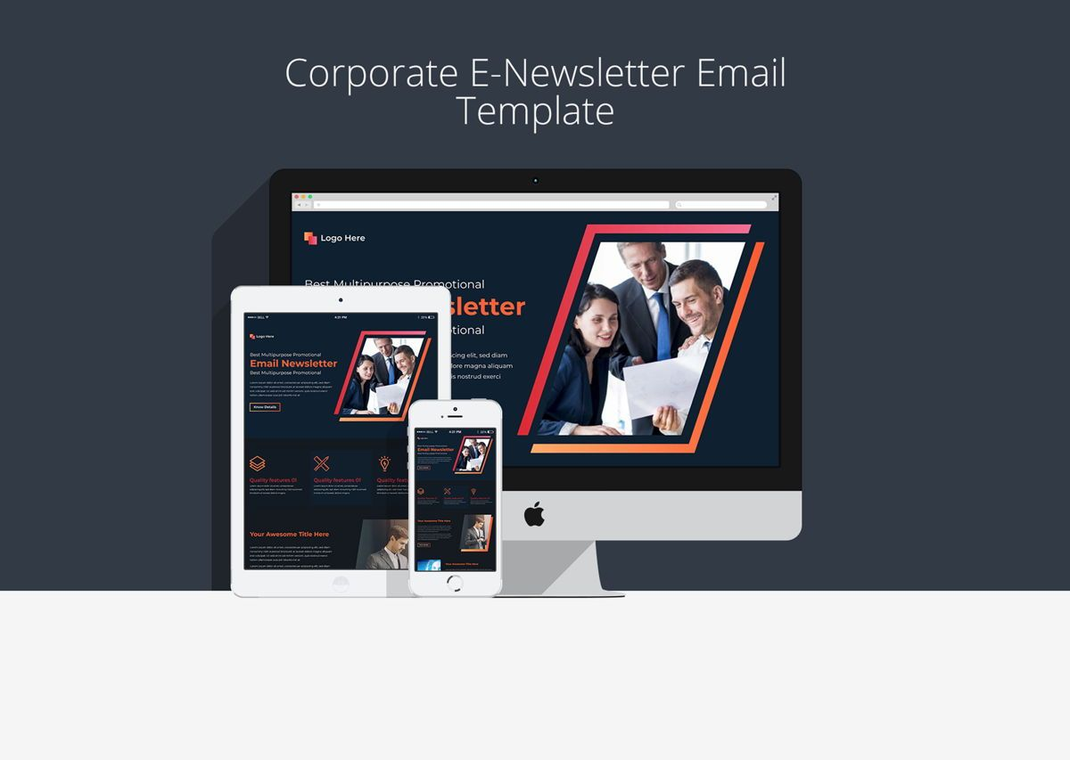 Multipurpose Corporate E-Newsletter Email Template, 08936, 3D — PoweredTemplate.com