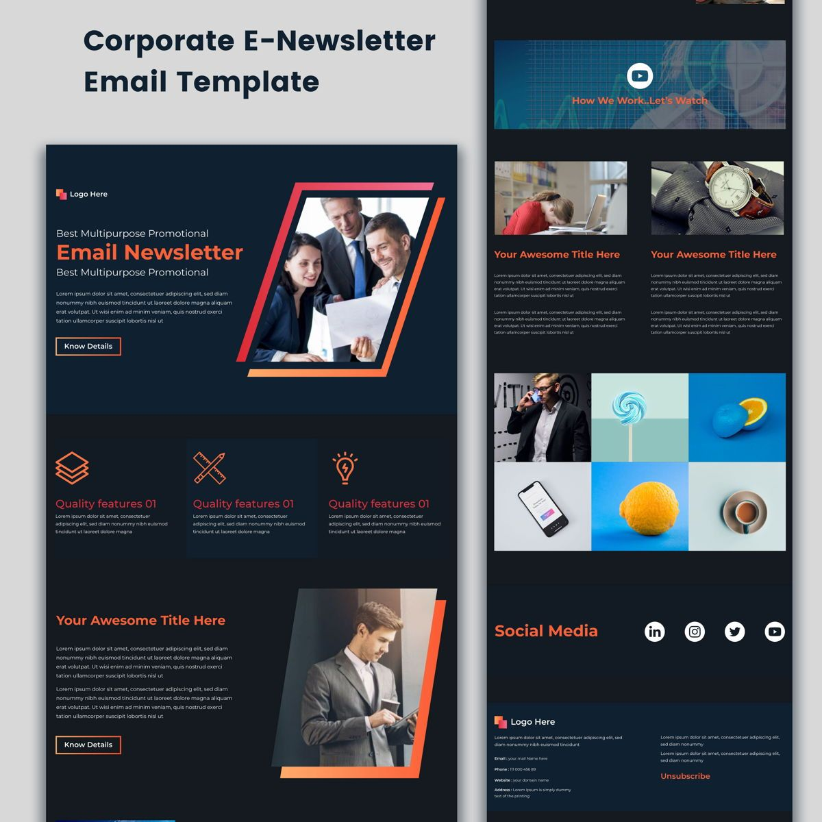 Multipurpose Corporate E-Newsletter Email Template, Dia 2, 08936, 3D — PoweredTemplate.com