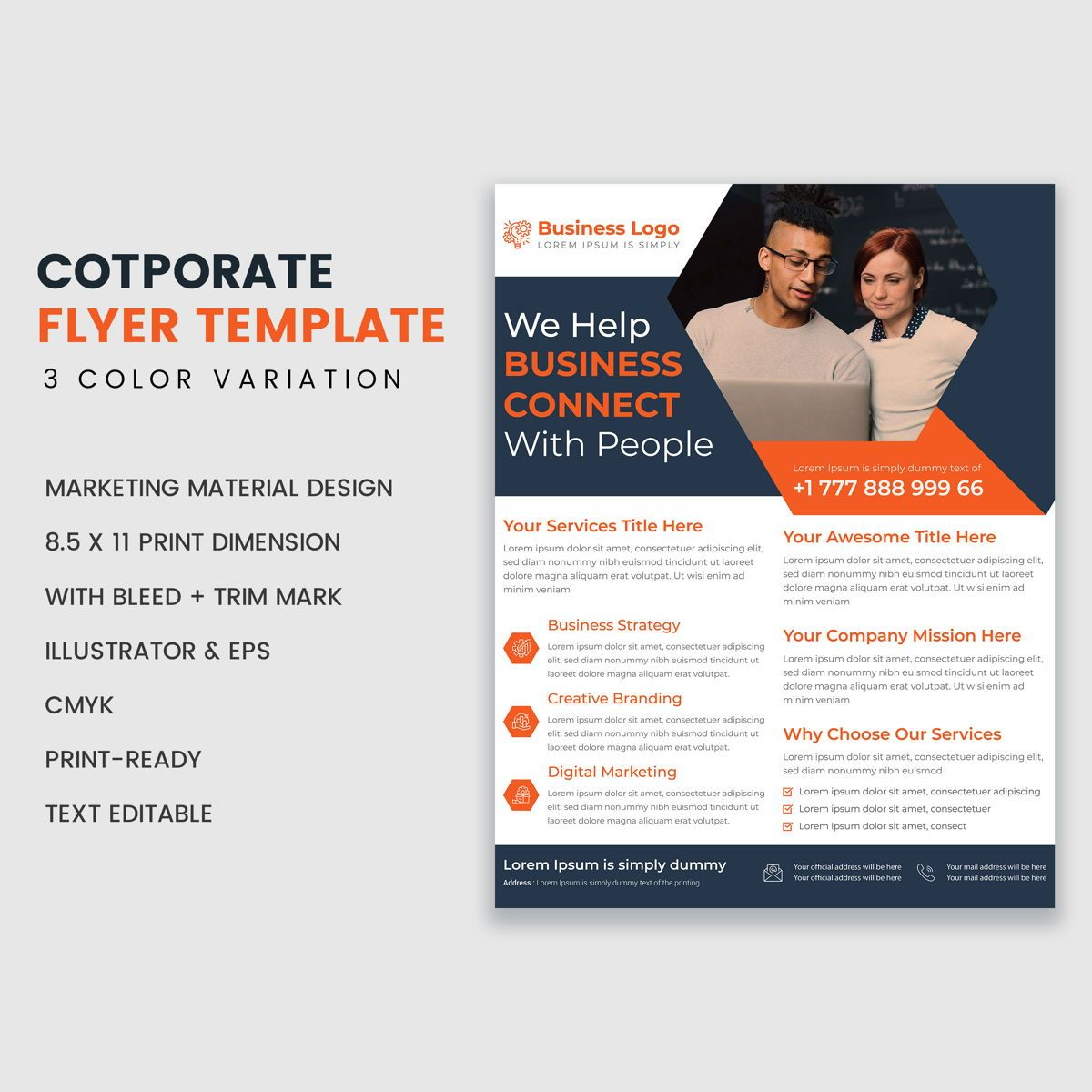 Minimal Corporate Industrial Flyer Template Design For Professional Business Services, 08938, Abstract/Textures — PoweredTemplate.com