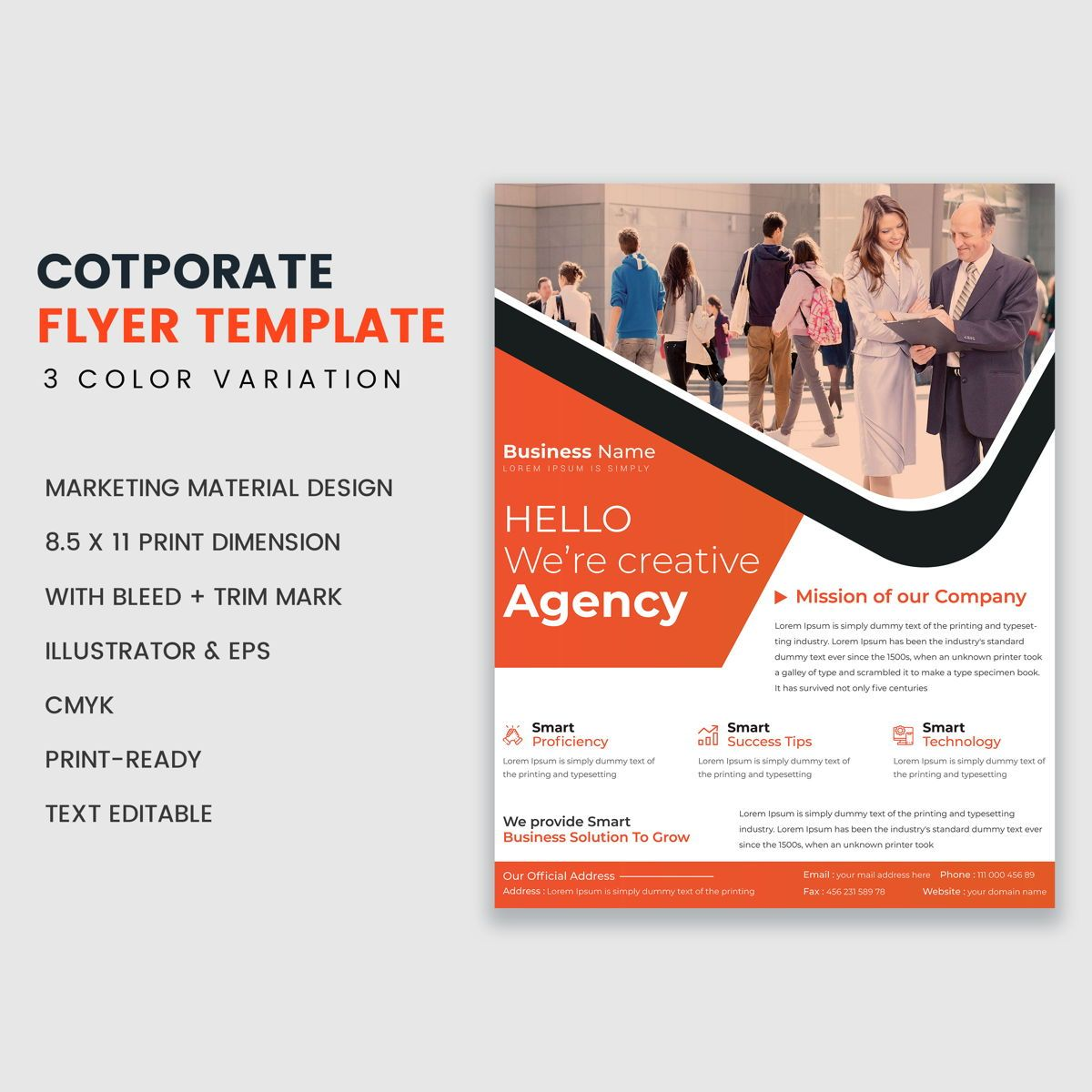Corporate Business Flyer Template, 08939, Astratto/Texture — PoweredTemplate.com