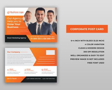 Business: Corporate Marketing Material Design - Postcard #08940