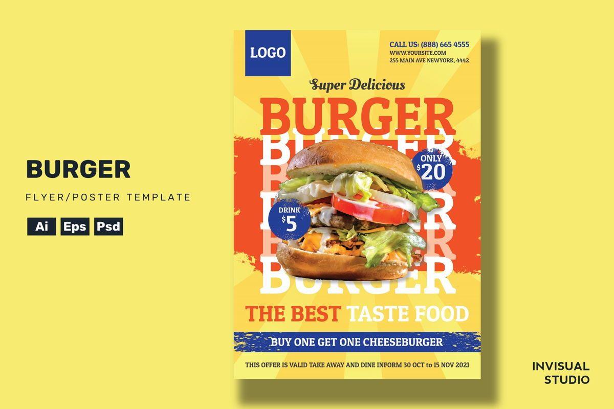 Burger - Flyer Template, 08952, Food & Beverage — PoweredTemplate.com
