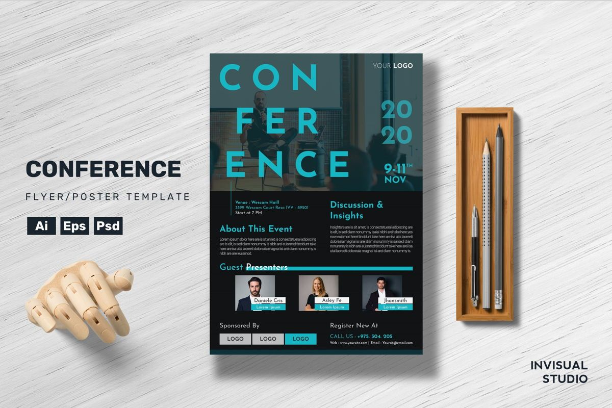 Conference - Flyer Template, 08953, Business Concepts — PoweredTemplate.com