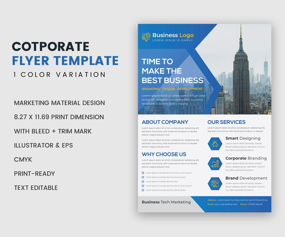 Multipurpose Clean Modern Industrial Flyer Template, 08957, 비즈니스 — PoweredTemplate.com