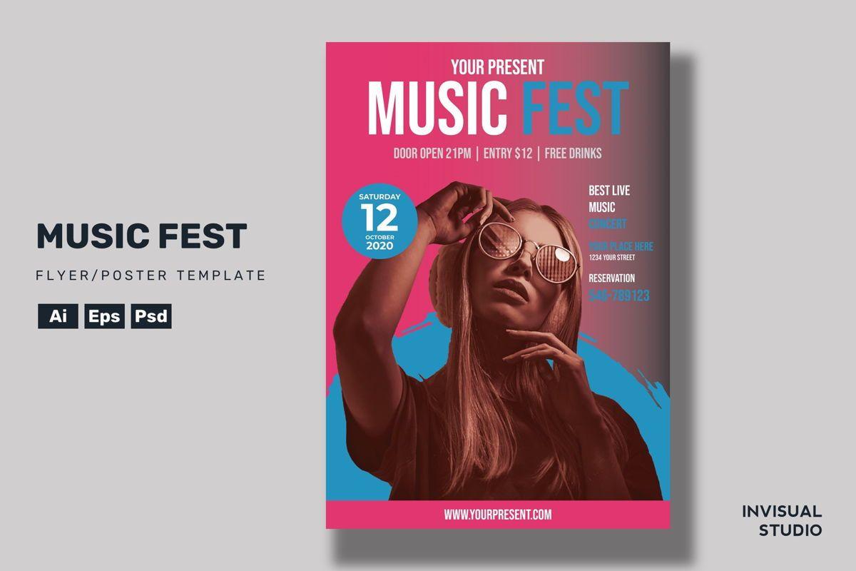 Music Fest - Flyer Template, 08960, Art & Entertainment — PoweredTemplate.com