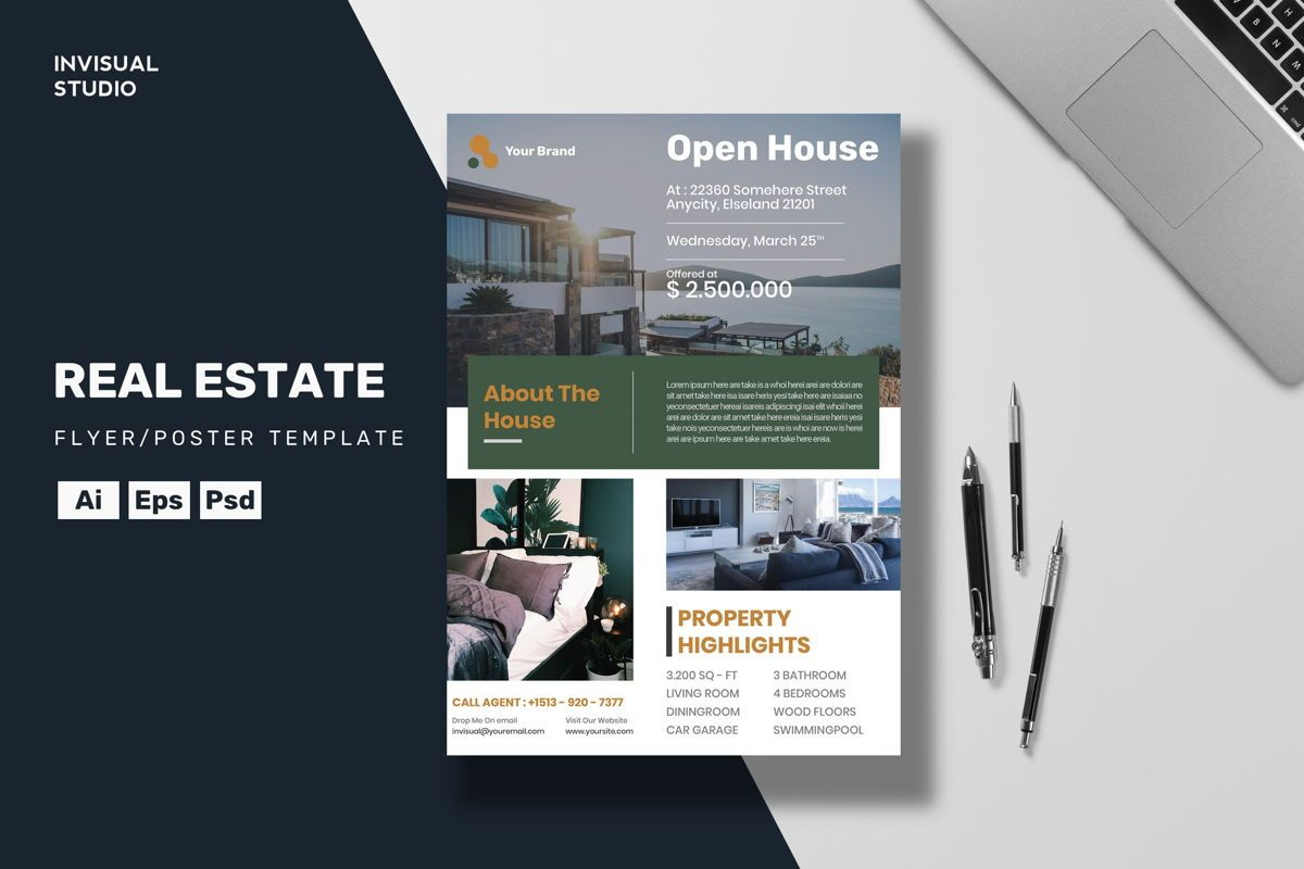 Real Estate - Flyer Template, 08961, Business Concepts — PoweredTemplate.com