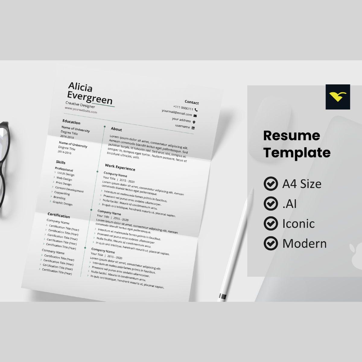 Minimal resume design template, 08962, People — PoweredTemplate.com