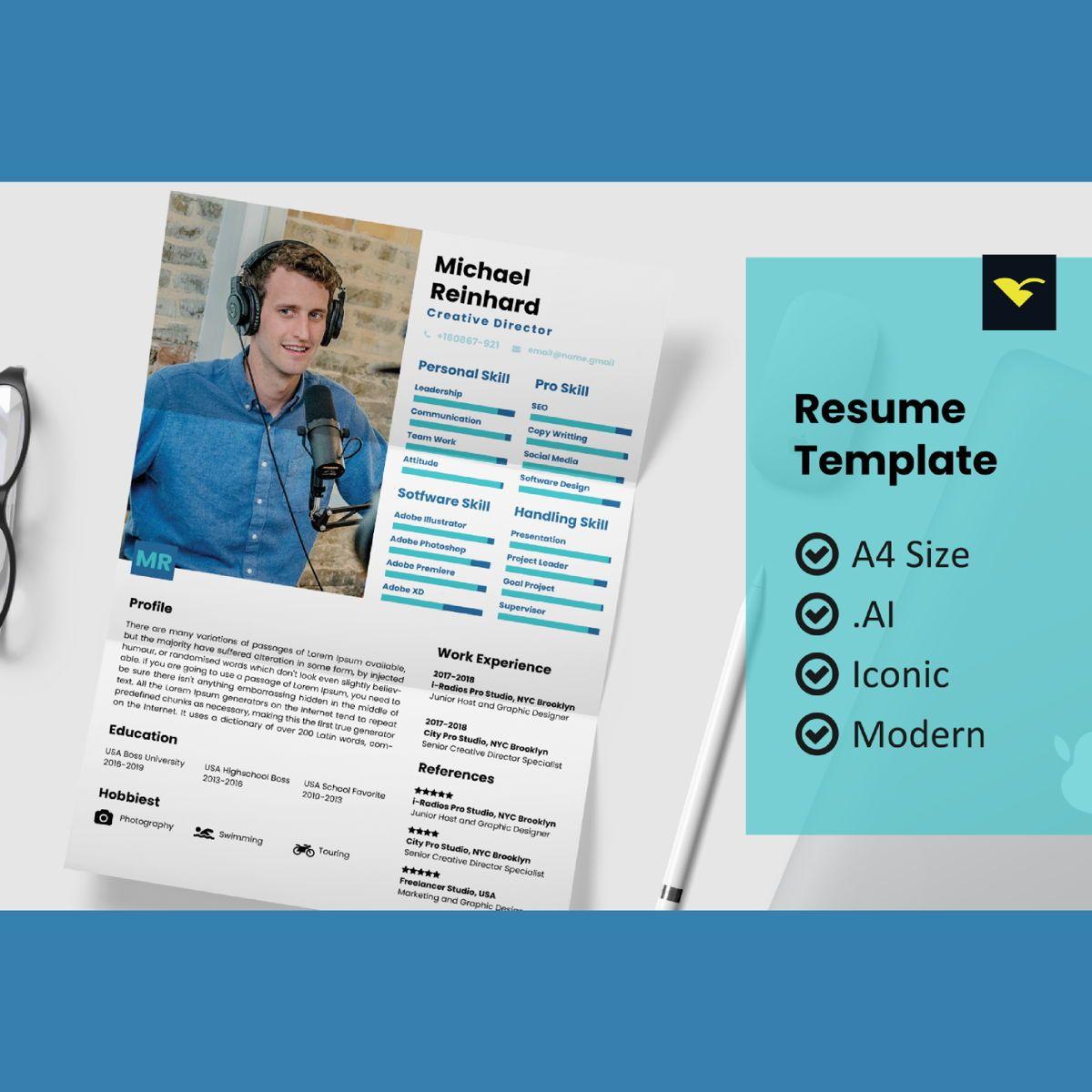 Style resume design template, 08964, People — PoweredTemplate.com