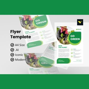 Nature & Environment: Go green 2021 flyer design template #08966