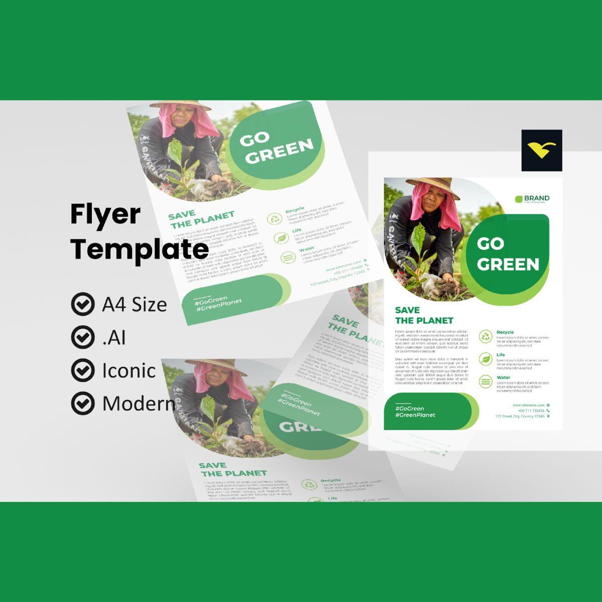 Go green 2021 flyer design template, 08966, Nature & Environment — PoweredTemplate.com
