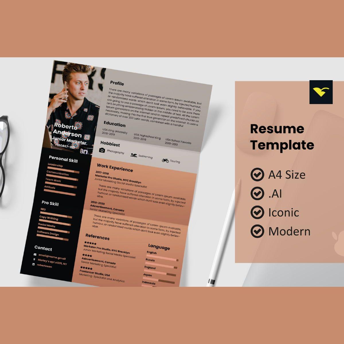 Modern resume design template, 08967, People — PoweredTemplate.com