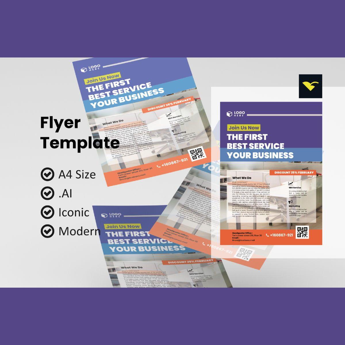 Business creative flyer template, 08968, Business — PoweredTemplate.com